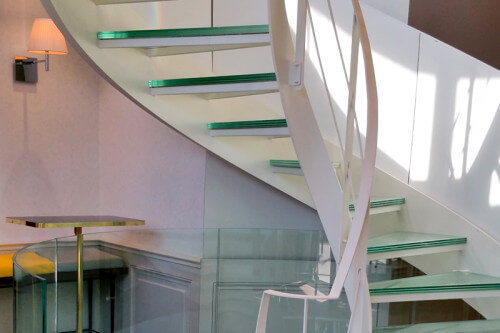 Glass staircases and floors